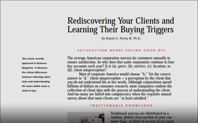 Article: Rediscovering Your Clients and Learning Their Buying Triggers
